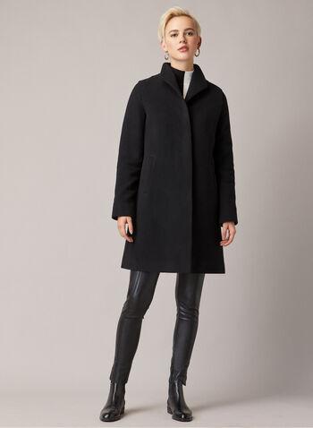 Mallia - Manteau boutonné en laine mélangée, Noir,  manteau, cachemire, laine, bouton, poches, mi-long, automne hiver 2019