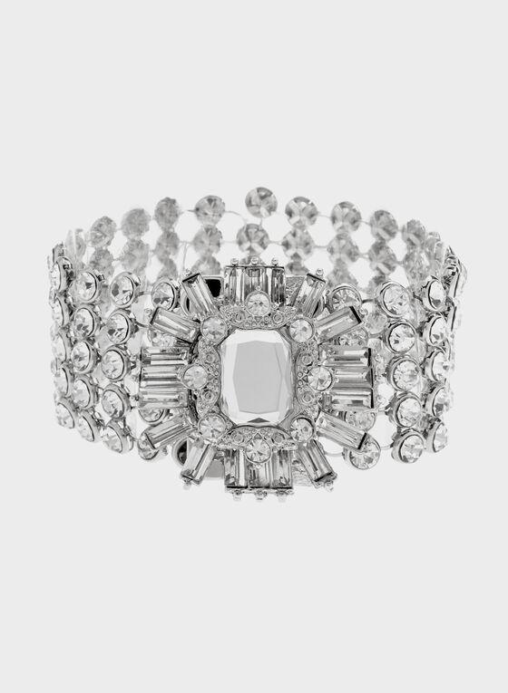 Luxurious Crystal Bracelet, Silver, hi-res