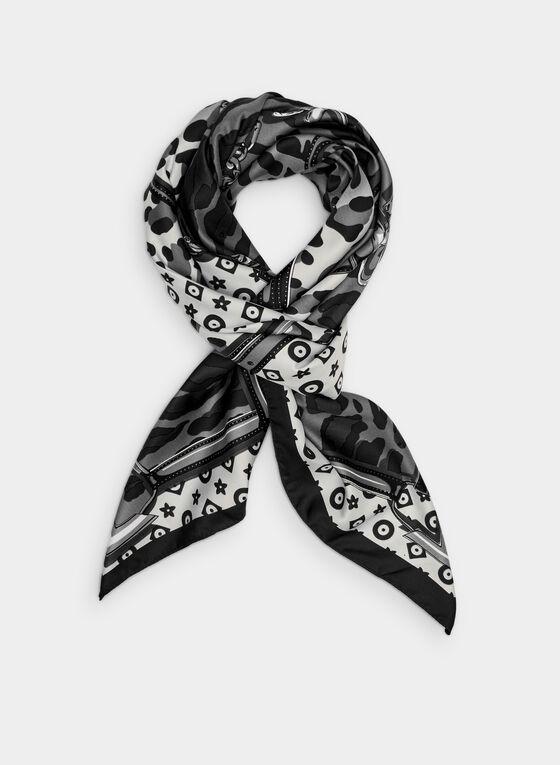 Foulard carré à motif animalier, Gris