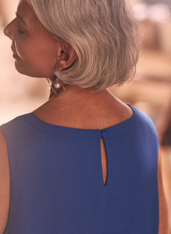 Layered Sleeveless Blouse , Blue