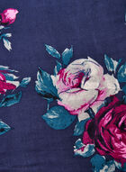 Floral Print Rayon Scarf, Blue, hi-res