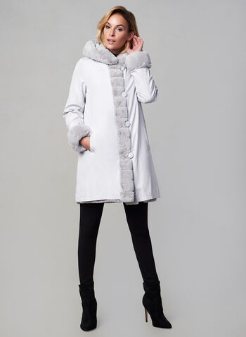 Nuage - Manteau réversible , Argent,  automne 2019, hiver 2019, réversible, capuchon, fausse fourrure, nylon