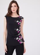Sleeveless Draped Floral Print Top, Multi, hi-res