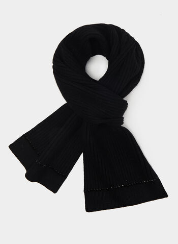 Crystal Trim Knit Scarf, Black, hi-res