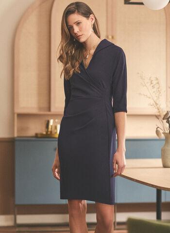 Maggy London - Robe drapée en crêpe, Bleu,  crêpe, cache-cœur, col à revers, manches 3/4, robe ajustée, drapé, robe, robe de jour, printemps été 2021