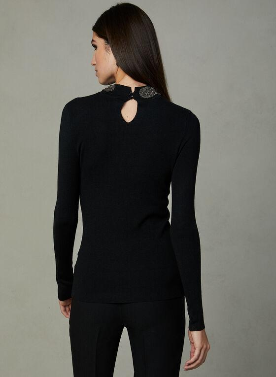 Frank Lyman - Beaded Mock Neck Sweater, Black, hi-res