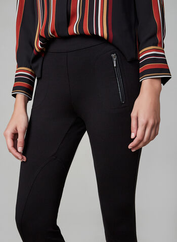 Slim Leg Pull-On Pants , Black, hi-res,  pants, slim legs, pockets, fall 2019, winter 2019
