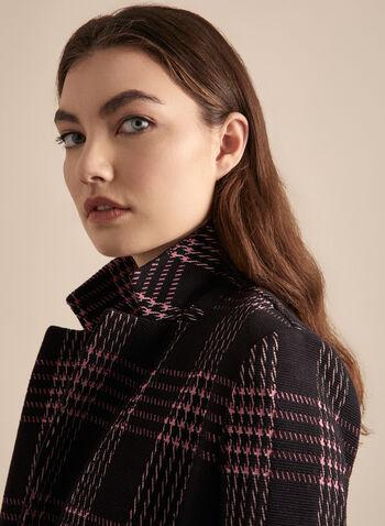 Blazer carreauté à un bouton, Noir,  printemps été 2020, blazer, veste, bouton, carreaux, motif, épaulettes, tricot, ottoman, tailleur