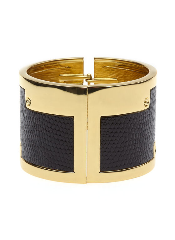 Faux Snakeskin Hinge Bangle, Black, hi-res