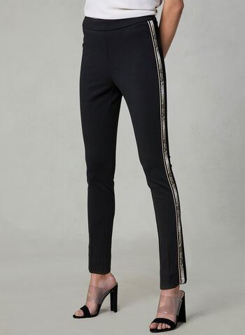 Snake Print Trim Slim Leg Pants, Black, hi-res