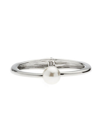 Pearl Top Hinge Bangle, Off White, hi-res