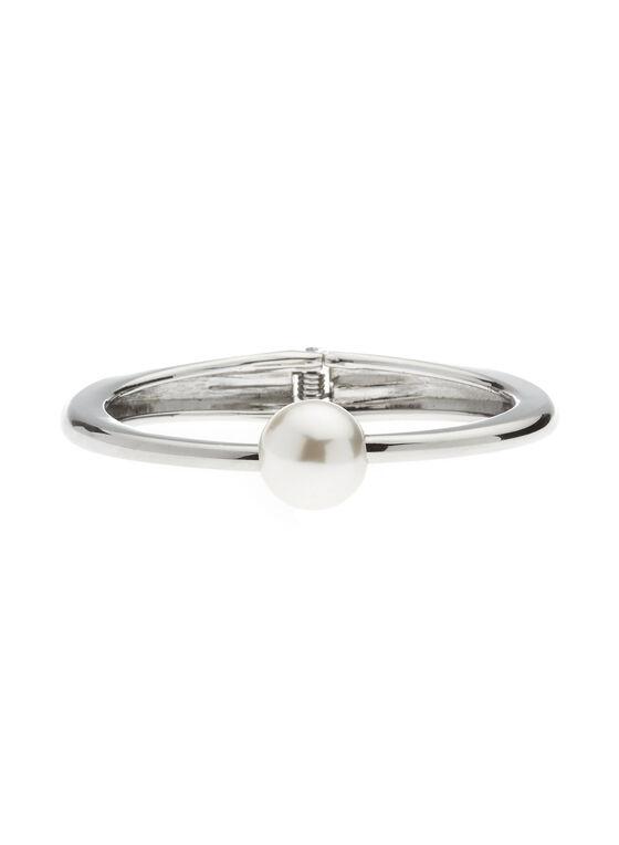 Pearl Top Hinge Bangle, Off White, hi-res