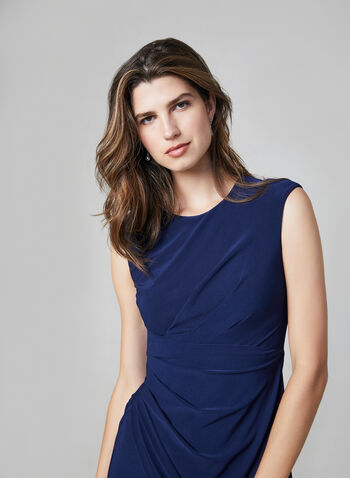Ruched Crepe Dress, Blue, hi-res,  crepe, stretchy, sleeveless, sheath, fall winter 2019