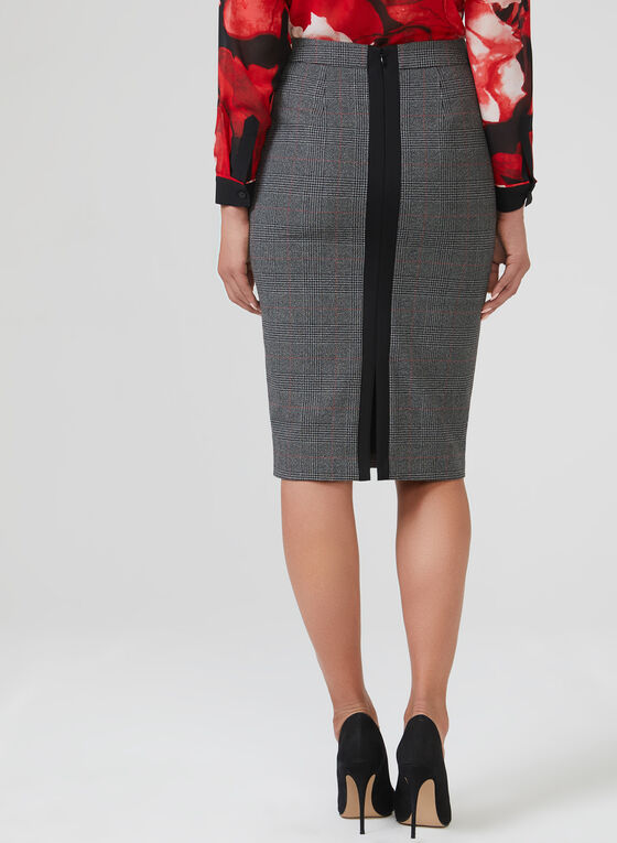 Plaid Print Short Pencil Skirt, Black, hi-res