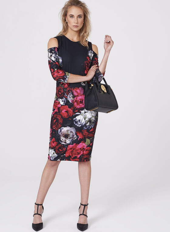 Floral Print Cold Shoulder Scuba Dress, Multi, hi-res