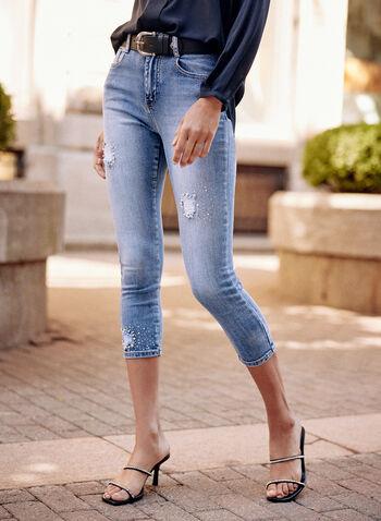 Embellished Denim Capris, Blue,  spring summer 2021, jeans, denim, pants, capris, slim leg, mid rise, faded effect, ripped, patches, crystal, details, embellishments, pockets, stretch, belt loops, zipper, button