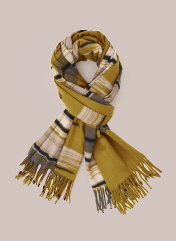 Abstract Striped Scarf, Yellow,  Fall winter 2020, scarf, accessories, wool, abstract, pattern, print, hem fringe