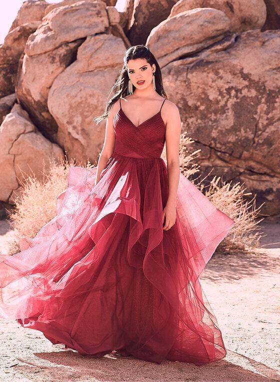 Terani Couture - Robe étagée pailletée avec tulle, Rouge, hi-res