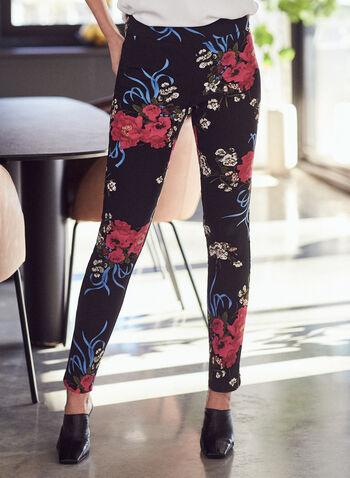 Floral Print Slim Leg Pants, Black,  pants, bengaline, floral, pull-on, slim leg, ankle length, spring summer 2021