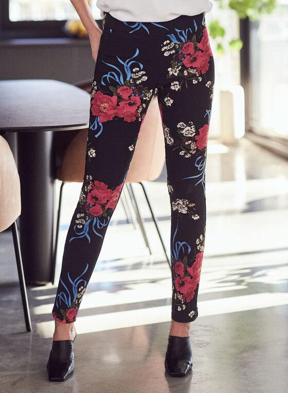 Pantalon fleuri à jambe étroite, Noir