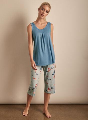 Claudel Lingerie - Floral Print Capri & Top Pyjama Set, Blue,  Claudel, lingerie, sleepwear, pyjama, tank top, capri, floral print, spring 2020, summer 2020