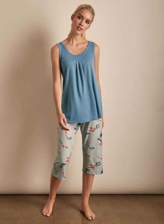 Claudel Lingerie - Floral Print Capri & Top Pyjama Set, Blue