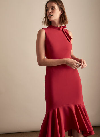 Maggy London - Ruffle Hem Crepe Dress, Red,  Spring summer 2020, day dress, sleeveless, mock neck,