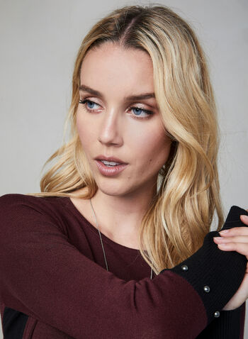Colour Block Knit Tunic, Purple,  fall 2019, winter 2019, knit, tunic, long sleeves, colour block
