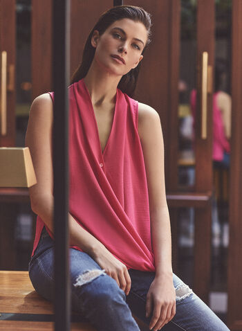 Joseph Ribkoff - Sleeveless Faux Wrap Blouse, Pink,  top, blouse, sleeveless, v-neck, button front, wrap, hammered, ribkoff, lyman, spring summer 2021