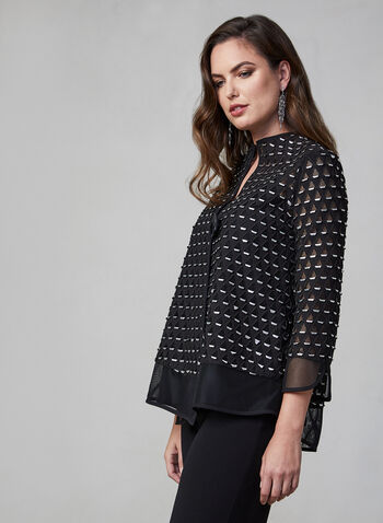 Joseph Ribkoff - Metallic Net Jacket, Black,  canada, metallic, short jacket, jacket, Joseph Ribkoff, fall 2019, winter 2019