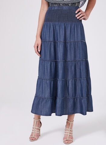 Pull-On Peasant Skirt, Blue, hi-res