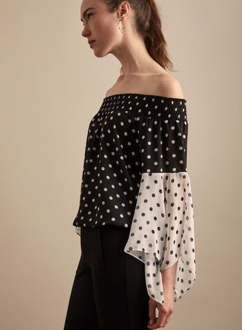 Polka Dot Cold Shoulder Blouse, Black,  blouse, polka dot, flared sleeve, bardot, cold shoulder, crepe, spring summer 2020