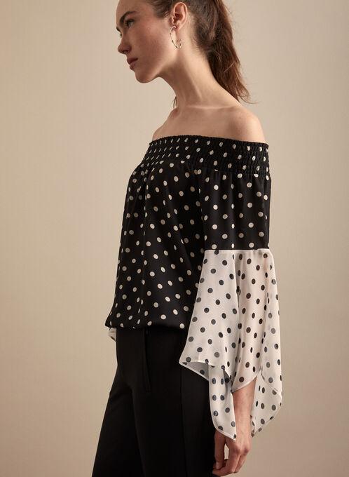 Polka Dot Cold Shoulder Blouse, Black
