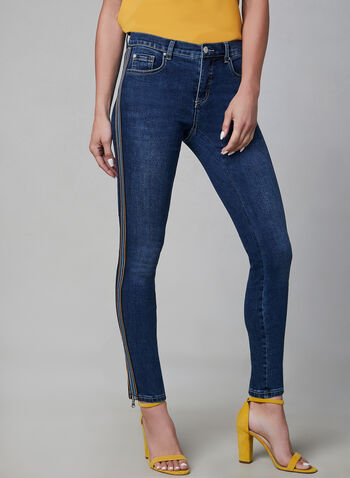 Contrast Trim Slim Leg Jeans, Blue,  zipper, ankle length, cotton, fall 2019, winter 2019