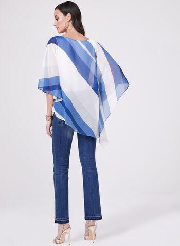Asymmetric Chiffon Poncho Blouse, Blue, hi-res