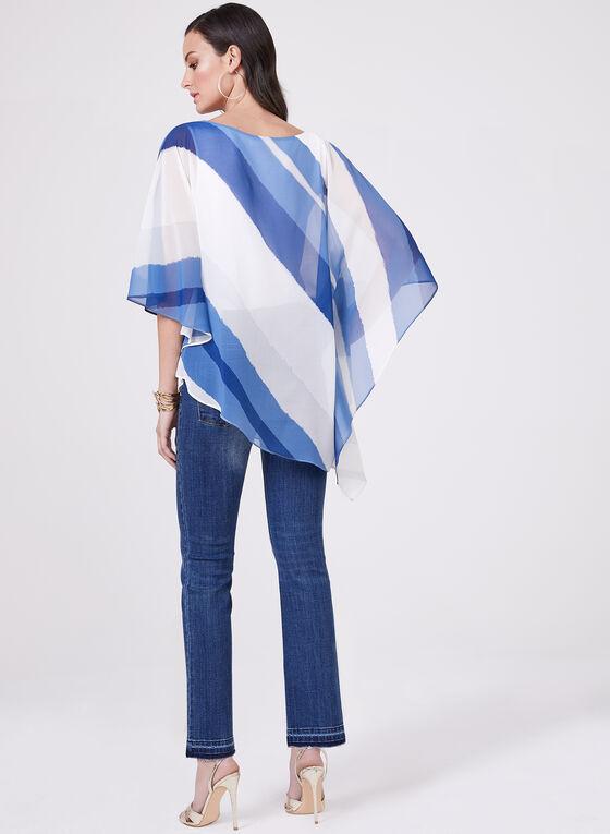 Blouse poncho asymétrique en mousseline, Bleu, hi-res