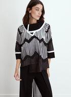 Textured Geometric Contrast Jacket, Black