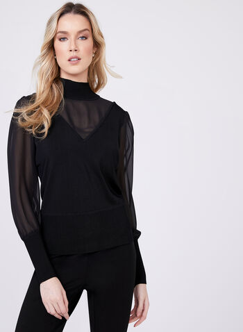 Sheer Chiffon V-Neck Knit Sweater , Black, hi-res
