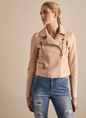 Vince Camuto - Zipper Detailed Moto Jacket , Pink,  jacket, moto jacket, faux leather jacket, faux leather, zippers, spring 2020, summer 2020, outerwear