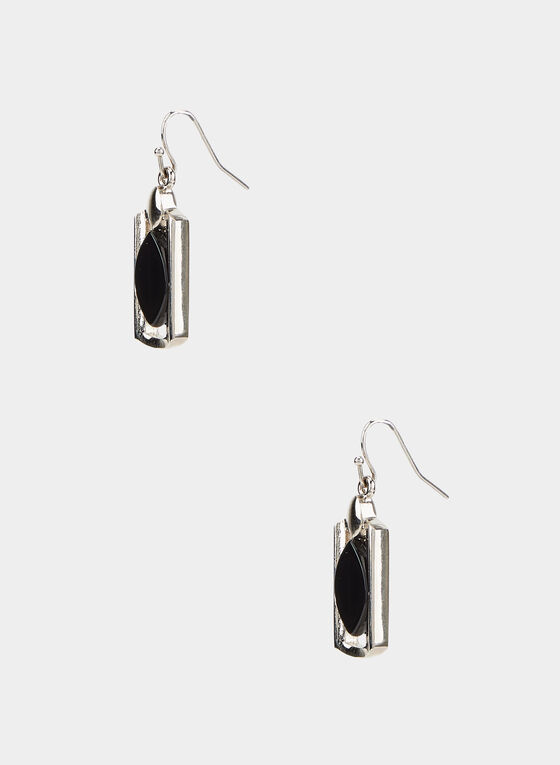 Boucles d'oreilles à pendant ovale et rectangle, Noir, hi-res