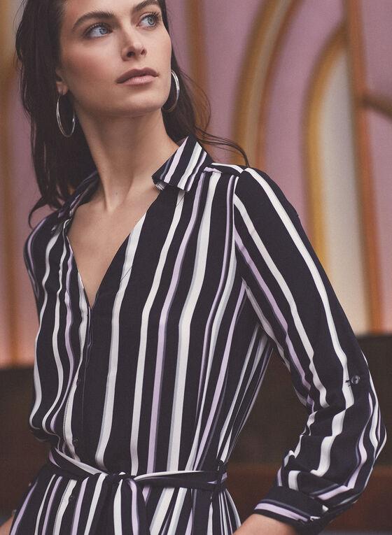 Stripe Print Belted Shirt Dress, Black