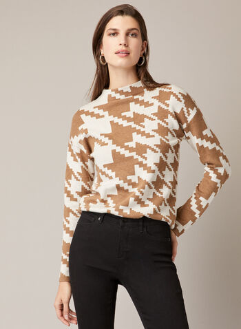 Houndstooth Print Mock Neck Sweater, Off White,  sweater, mock neck, long sleeves, houndstooth, knit, fall winter 2020