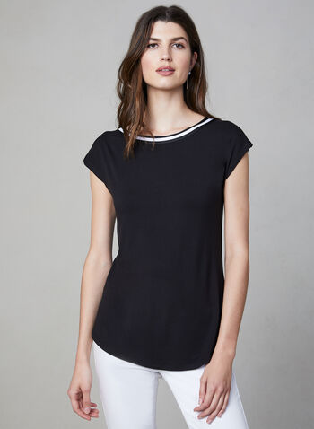 Bamboo Fabric Top, Black, hi-res,  boat neck, tee, short sleeves, bamboo, stretchy