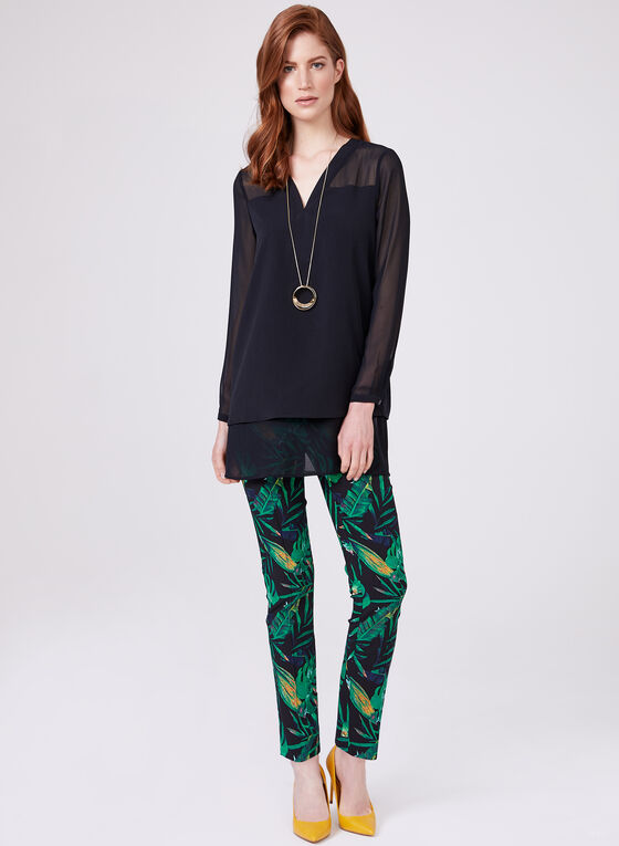 Leaf Print Pull On Pants, Black, hi-res
