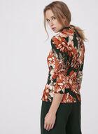 Floral Print Faux Wrap Top, Orange, hi-res