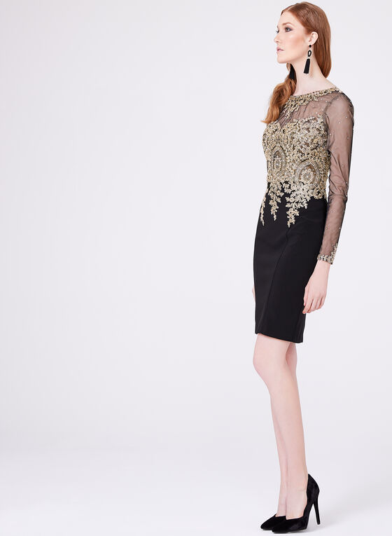 XSCAPE - Beaded Lace Mesh Sheath Dress, Black, hi-res