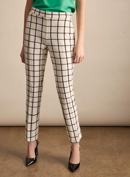 Pantalon Amber à carreaux, Blanc