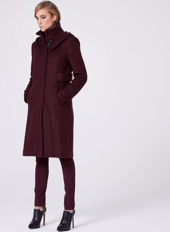 Faux Fur Trimmed Wool Blend Coat, Purple, hi-res