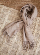 Fringed Textured Knit Scarf, Brown