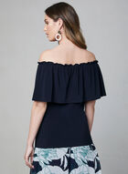 Off-the-Shoulder Jersey Top, Blue, hi-res